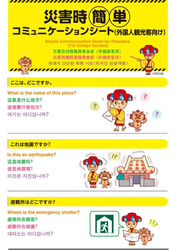 Simple Communication Sheet for Disasters (2015 Edition)